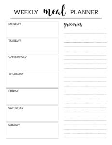 Free Printable Meal Planner Template | Printables | Meal throughout Blank Meal Plan Template