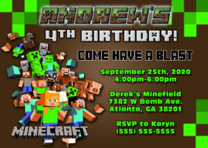 Free Printable Minecraft Birthday Party Invitations with regard to Minecraft Birthday Card Template