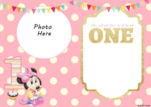 Free Printable Minnie Mouse 1St Invitation | Talli regarding First Birthday Invitation Card Template