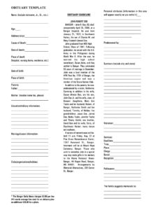 Free Printable Obituary Template – Fill Online, Printable Intended For Fill In The Blank Obituary Template