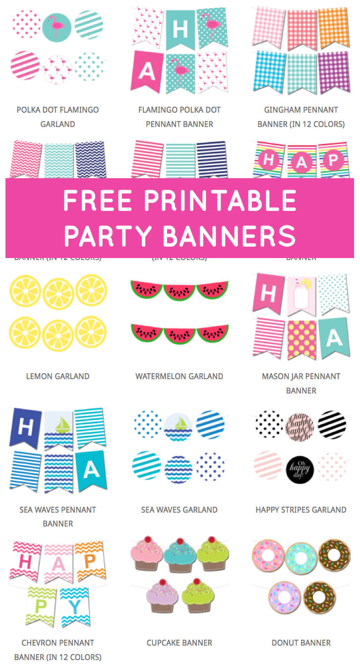 Free Printable Party Banners From @chicfetti | Free In Free Printable Party Banner Templates