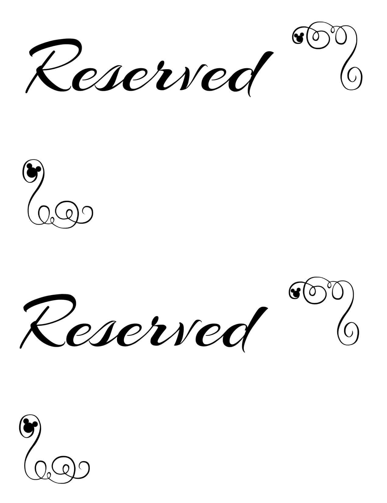 Free Printable Reserved Seating Signs For Your Wedding Pertaining To Reserved Cards For Tables Templates