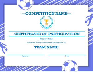 Free Printable Soccer Certificate Four Sports Awards in Soccer Certificate Template