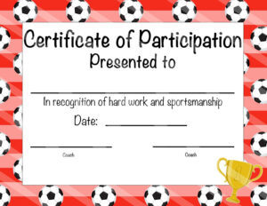 Free Printable Soccer Certificate Templates Award Template Intended For Soccer Certificate Templates For Word