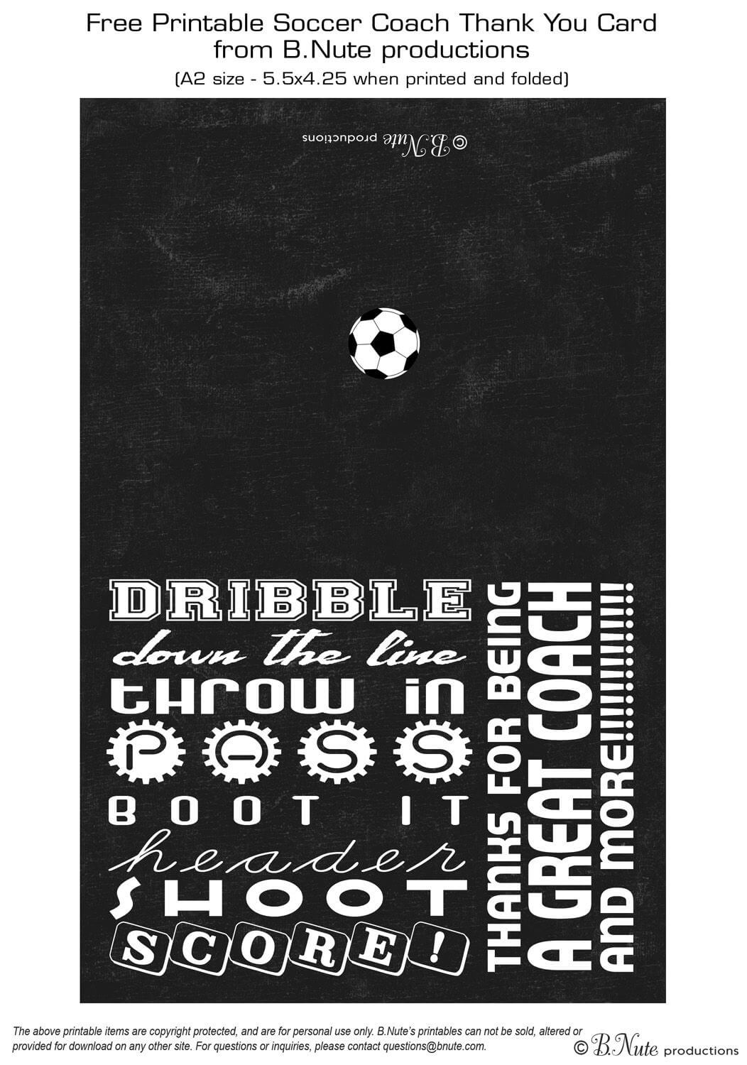 Free Printable Soccer Coach Thank You Card From B.nute In Soccer Thank You Card Template