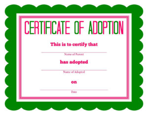 Free Printable Stuffed Animal Adoption Certificate | Free in Adoption Certificate Template