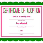 Free Printable Stuffed Animal Adoption Certificate   Free In Child Adoption Certificate Template
