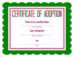 Free Printable Stuffed Animal Adoption Certificate | Free in Child Adoption Certificate Template