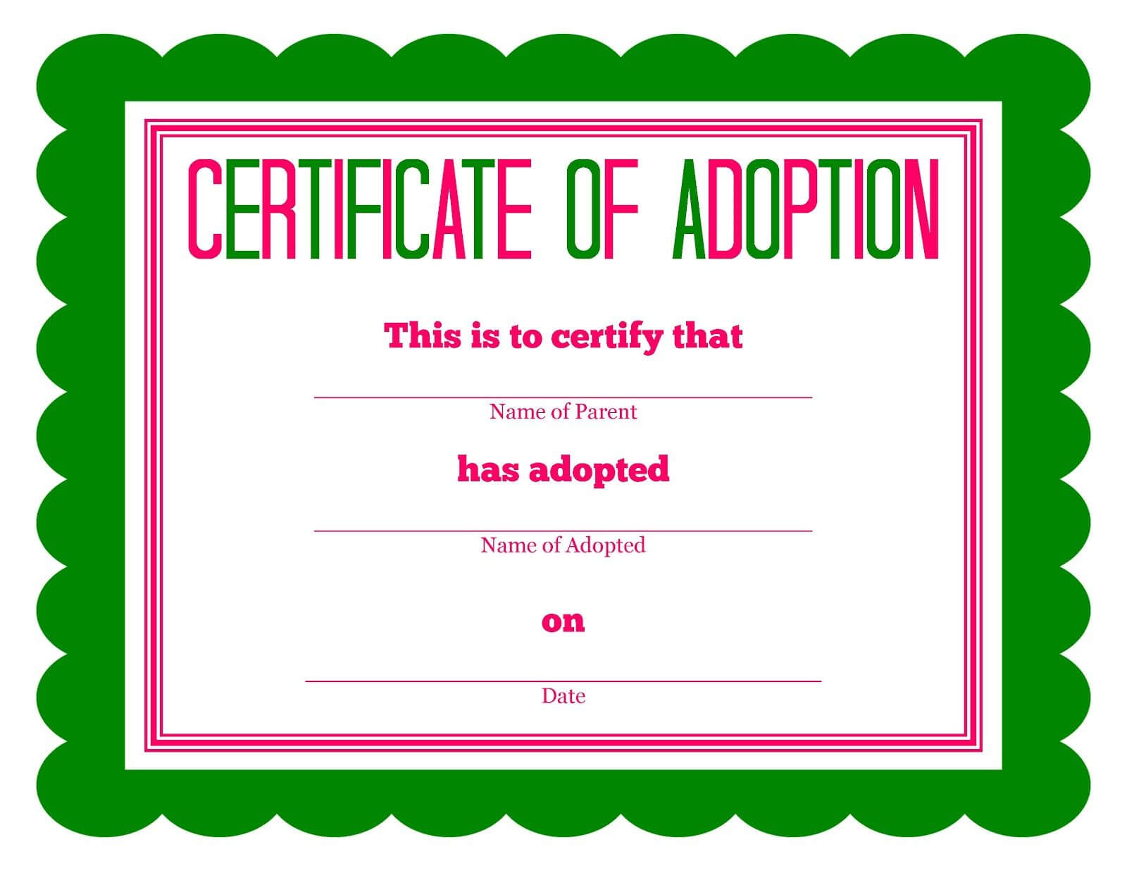 Free Printable Stuffed Animal Adoption Certificate | Free Intended For Blank Adoption Certificate Template