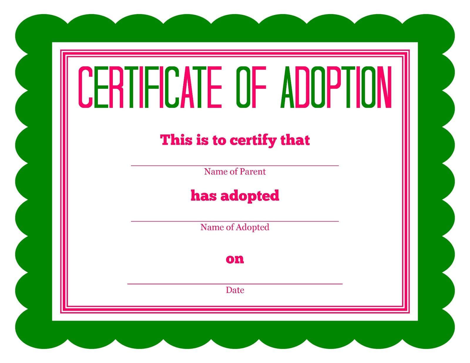 Free Printable Stuffed Animal Adoption Certificate | Free Regarding Toy Adoption Certificate Template