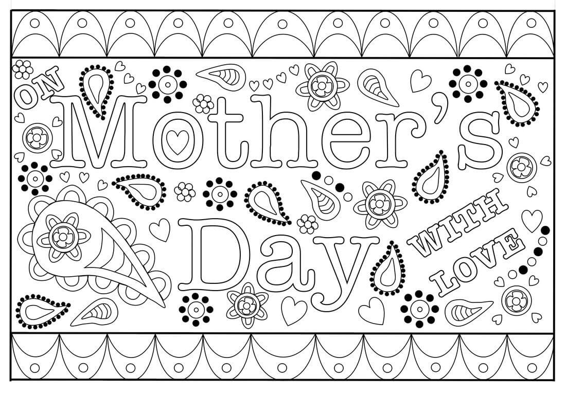 Free Printable Template For Colouring Mother's Day Card For Inside Mothers Day Card Templates