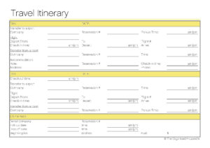 Free Printable – Travel Itinerary | Itineraries, Etc within Blank Trip Itinerary Template