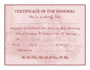 Free Printable – Vow Renewal Certificate | All Things within Anniversary Certificate Template Free