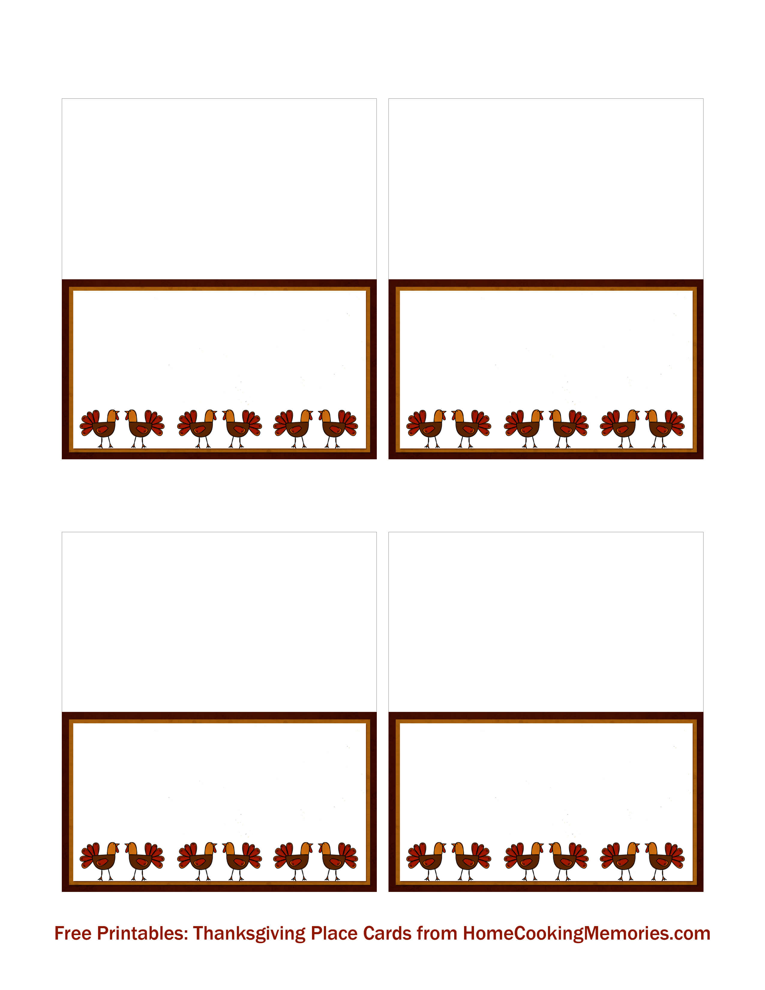 Free Printables: Thanksgiving Place Cards - Home Cooking intended for Table Name Cards Template Free