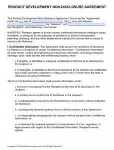 Free Product Development Non-Disclosure Agreement (Nda regarding Nda Template Word Document