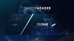 Free Professional Gaming Twitter Header Psd Template 2017 pertaining to Twitter Banner Template Psd