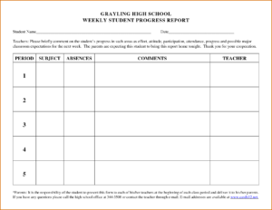 Free Progress Report Template Word School Student Form in Preschool Weekly Report Template
