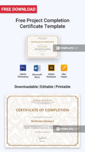 Free Project Completion Certificate | Certificate Templates intended for Certificate Template For Project Completion