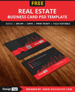 Free-Real-Estate-Agent-Business-Card-Template-Psd | Free throughout Real Estate Business Cards Templates Free