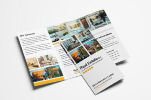 Free Real Estate Trifold Brochure Template In Psd, Ai with Single Page Brochure Templates Psd