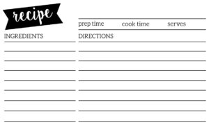 Free Recipe Card Template Printable – Paper Trail Design for Template For Cards To Print Free