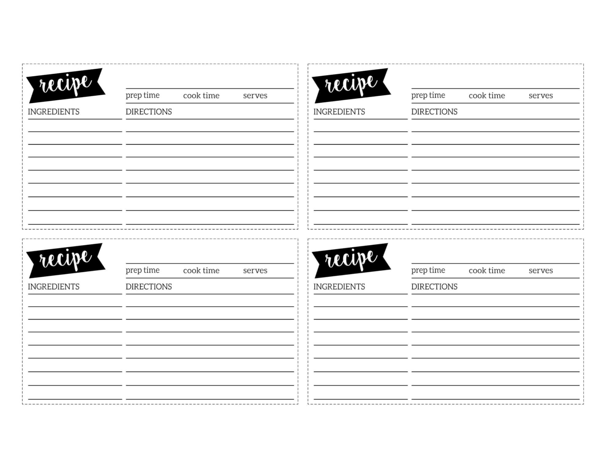Free Recipe Card Template Printable – Paper Trail Design Intended For Free Templates For Cards Print