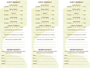Free Restaurant Comment Card Template Dramakoreaterbarucom throughout Frequent Diner Card Template