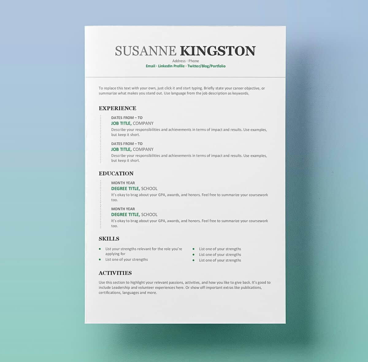 Free Resume Templates For Word: 15 Cv/resume Formats To Download Pertaining To How To Get A Resume Template On Word