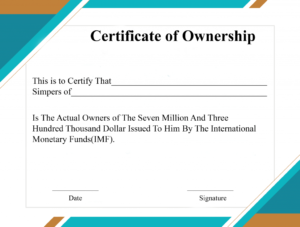 Free Sample Certificate Of Ownership Templates | Certificate Inside Certificate Of Ownership Template