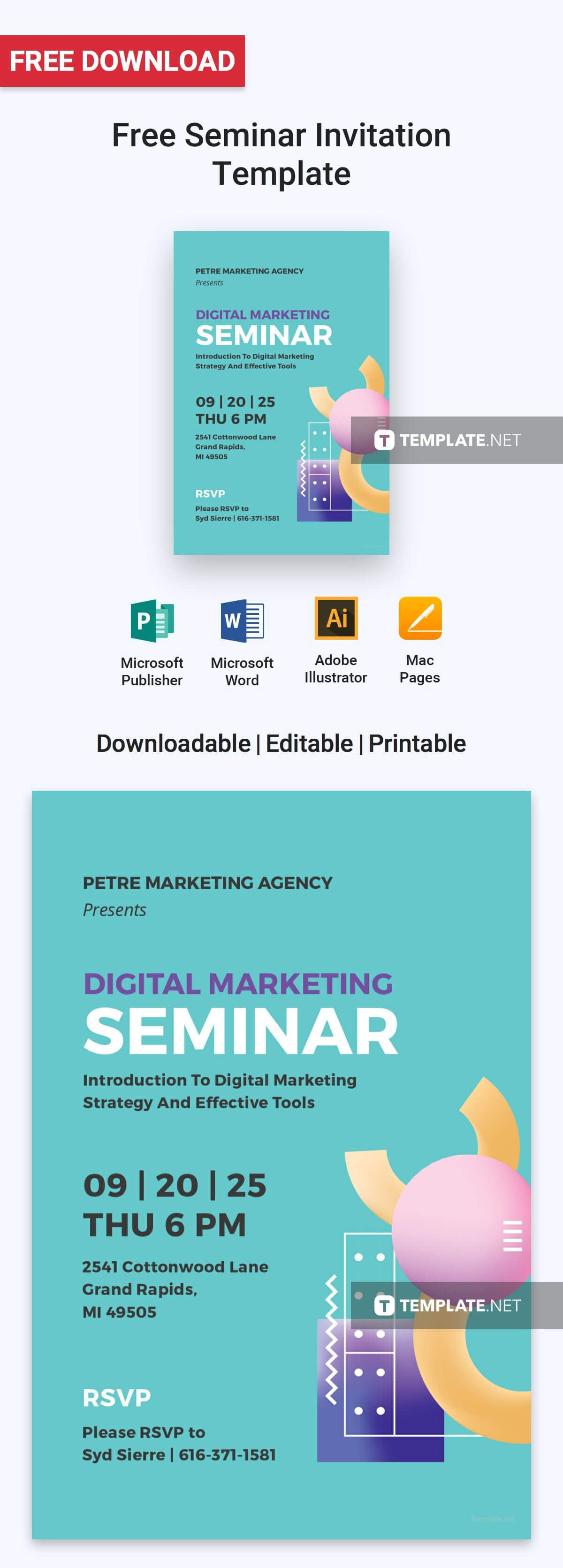 Free Seminar Invitation | Design | Business Invitation Regarding Seminar Invitation Card Template