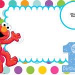 Free Sesame Street 1St Birthday Invitation Template | Plaza Throughout Elmo Birthday Card Template