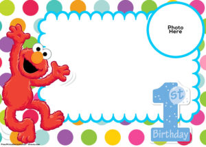 Free Sesame Street 1St Birthday Invitation Template | Plaza throughout Elmo Birthday Card Template