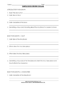 Free: Simple 5 Paragraph Book Review Or Report Outline Form throughout Report Writing Template Free