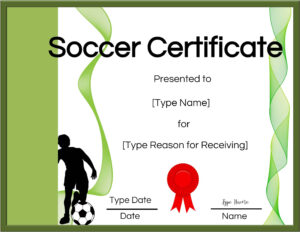 Free Soccer Certificate Maker | Edit Online And Print At Home with Soccer Certificate Template
