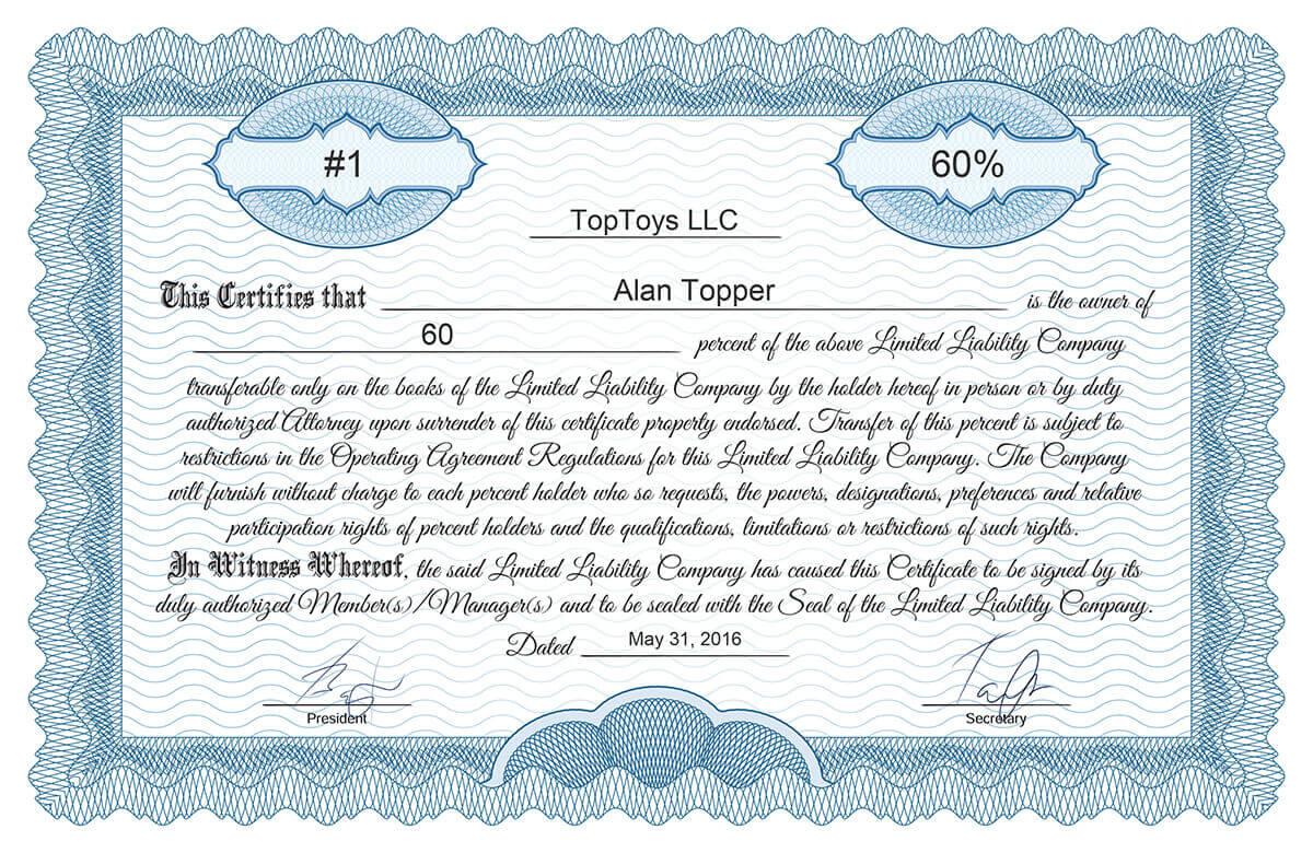 Free Stock Certificate Online Generator Intended For Llc Membership Certificate Template