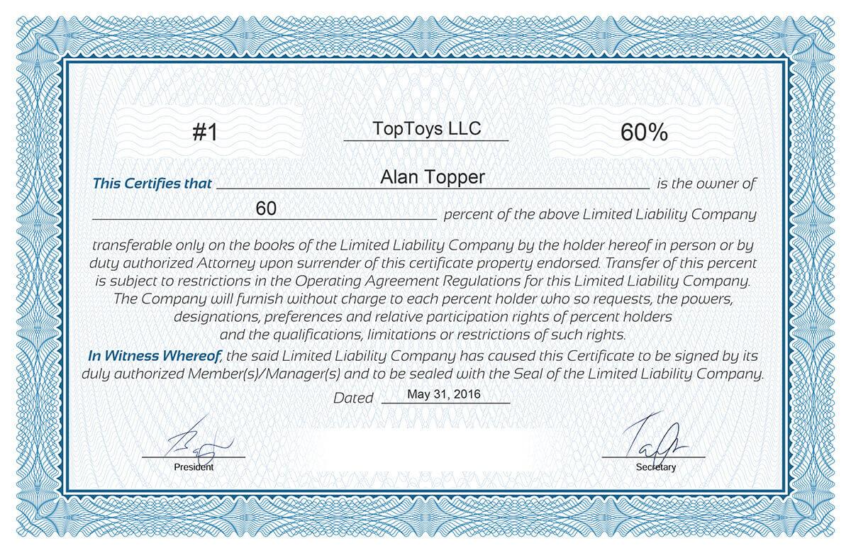 Free Stock Certificate Online Generator Regarding Llc Membership Certificate Template Word