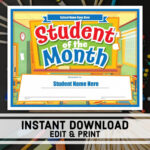 Free Student Of The Month Certificate Instant Download With Regard To Free Printable Student Of The Month Certificate Templates
