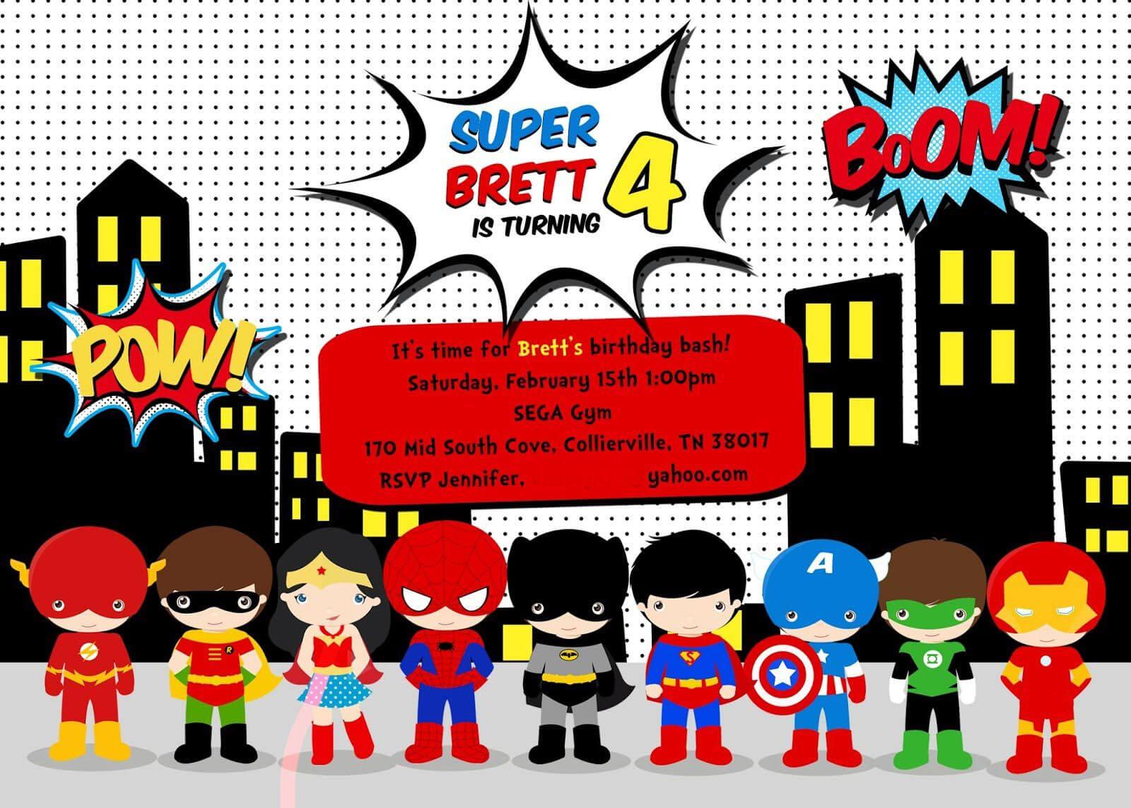 Free Superhero Birthday Party Invitation Templates Within Superhero Birthday Card Template