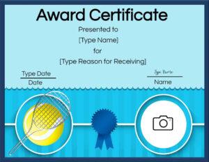 Free Tennis Certificate   Customize Online & Print regarding Tennis Certificate Template Free