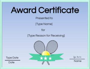 Free Tennis Certificate   Customize Online & Print with regard to Tennis Certificate Template Free