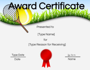 Free Tennis Certificate   Customize Online & Print within Tennis Certificate Template Free