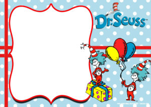 Free Thing 1 And Thing 2 Dr. Seuss Invitation | Free in Dr Seuss Birthday Card Template