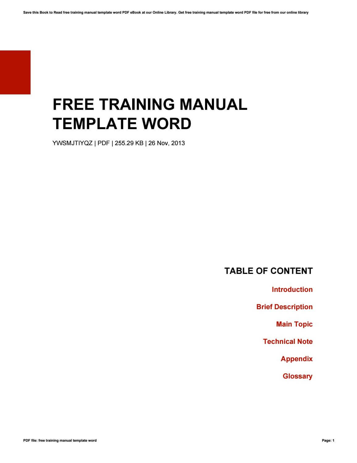 Free Training Manual Template Wordkazelink257 – Issuu For Training Documentation Template Word