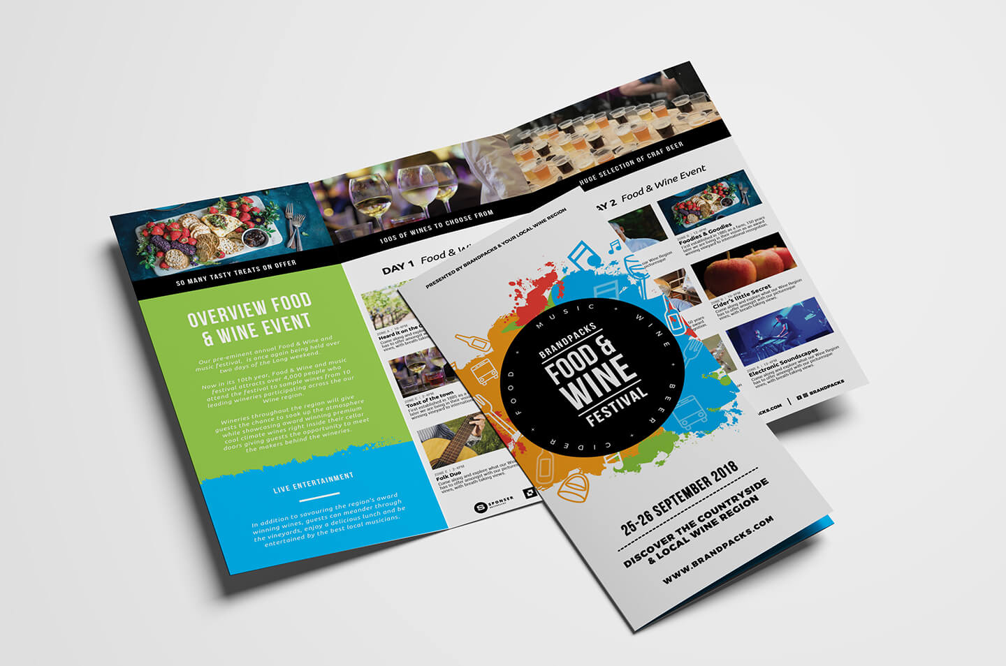 Free Tri Fold Brochure Template For Events & Festivals - Psd With 2 Fold Brochure Template Free