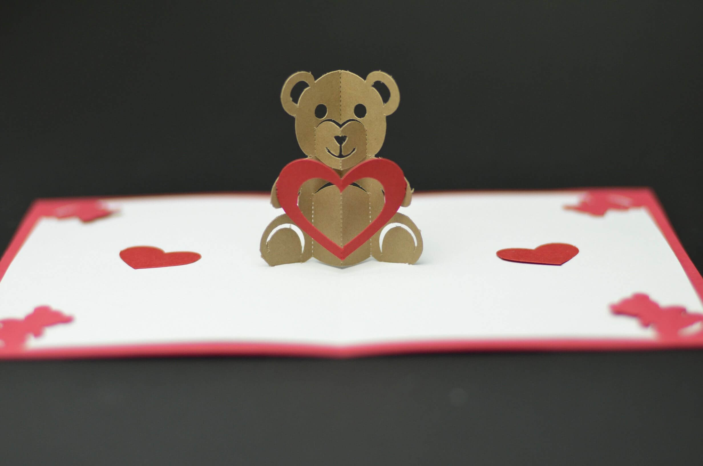 Free Valentines Day Pop Up Card Templates. Teddy Bear Pop Up Pertaining To Diy Pop Up Cards Templates