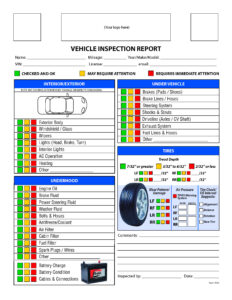 Free Vehicle Inspection Checklist Form | Good To Know With Vehicle Inspection Report Template