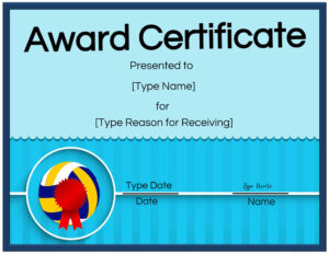 Free Volleyball Certificate | Customize Online & Print In Rugby League Certificate Templates