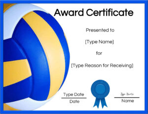 Free Volleyball Certificate | Customize Online & Print Inside Rugby League Certificate Templates