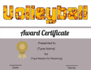Free Volleyball Certificate | Customize Online & Print Throughout Rugby League Certificate Templates