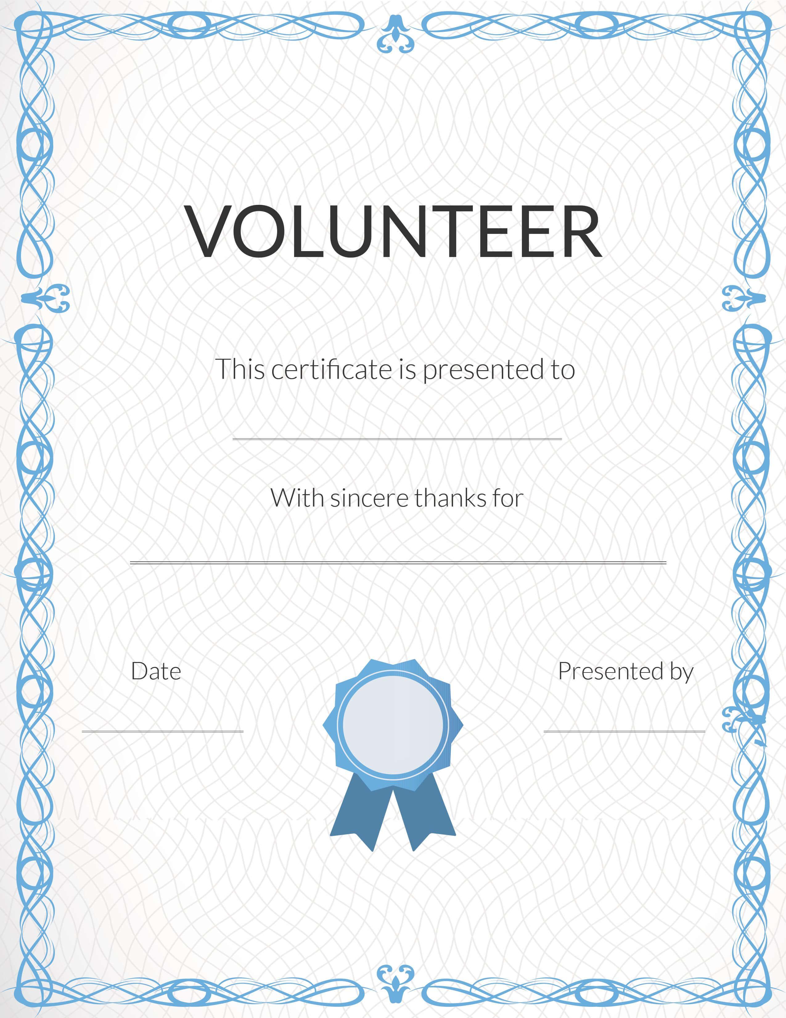 Free Volunteer Appreciation Certificates — Signup With Volunteer Award Certificate Template
